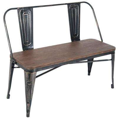 Stylish Distressed Black Metal Dining Table Bench