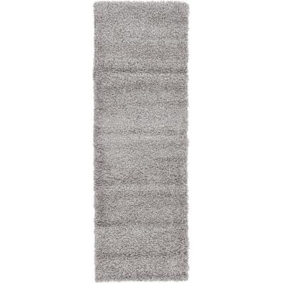 Solid Shag Cloud Gray 6 ft. Runner Rug