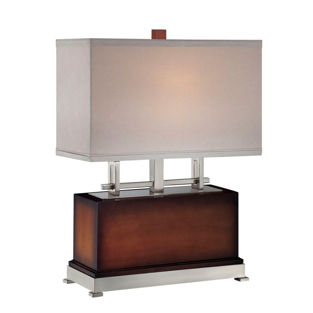 Illumine Designer Collection 22.5 in. Walnut Table Lamp with Tan Suede Shade