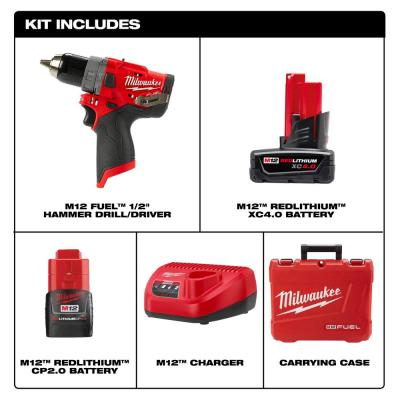 M12 FUEL 12-Volt Lithium-Ion Brushless Cordless 1/2 in. Hammer Drill Kit with 4.0 Ah and 2.0 Ah Battery and Hard Case