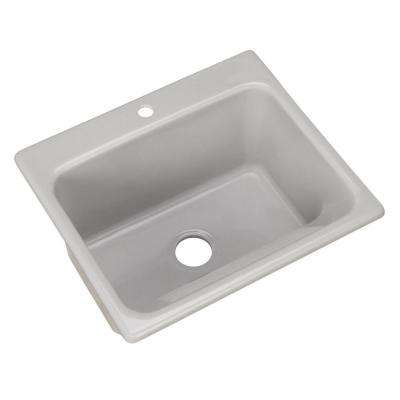 Kensington Drop-In Acrylic 25 in. 1-Hole Single Bowl Utility Sink in Sterling Silver