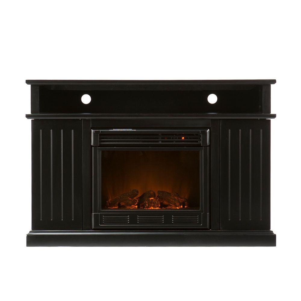 Southern Enterprises Kingsbury 48 in. Media Console Electric Fireplace in Black