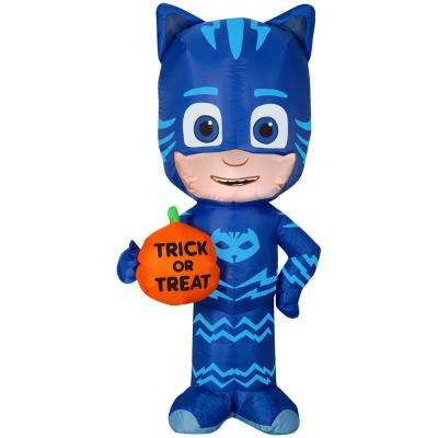 3.5 ft. Pre Lit Inflatable Catboy with Trick or Treat Pumpkin-PJ Masks Airblown
