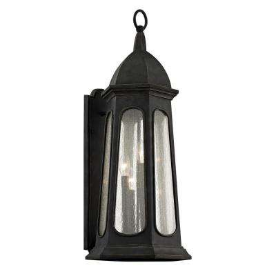 Astor 4-Light Vintage Iron 30.75 in. H Outdoor Wall Mount Sconce with Clear Seeded Glass