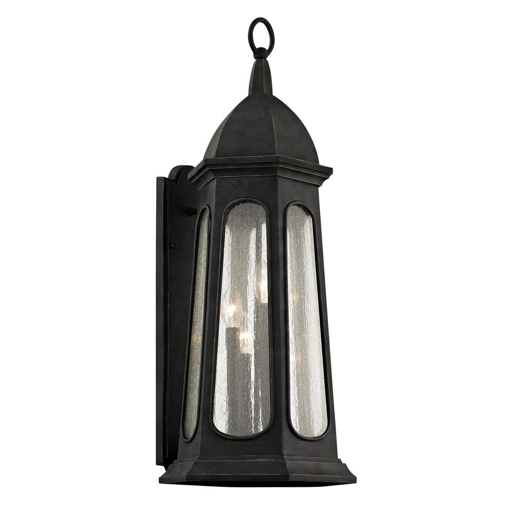 Troy Lighting Astor 4-Light Vintage Iron 30.75 in. H Outdoor Wall Lantern Sconce with Clear Seeded Glass