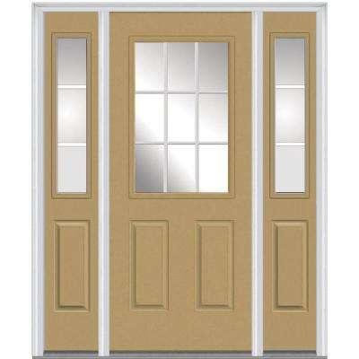 64 in. x 80 in. Grilles Between Glass Right-Hand 1/2 Lite 2-Panel Classic Painted Steel Prehung Front Door w/ Sidelites
