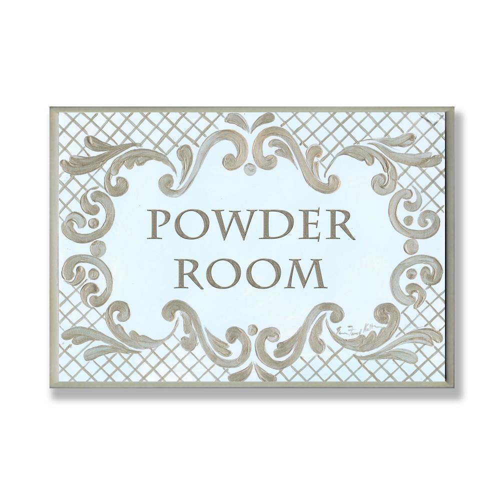 "12.5 in. x 18.5 in. ""Powder Room Aqua And Gold Lattice Bathroom"" by Jane Keltner Printed Wood Wall Art"