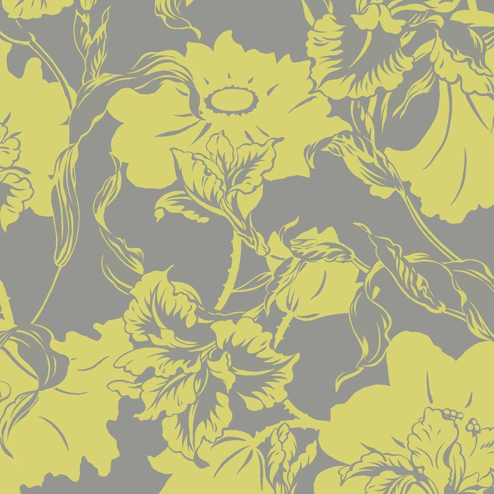 The Wallpaper Company 56 sq. ft. Lime Large Floral Wallpaper