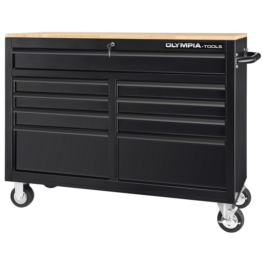 OLYMPIA 46 in. 9-Drawer Mobile Workbench with Solid Wood Top and 1,200 lbs. Capacity (100 lbs. per drawer)