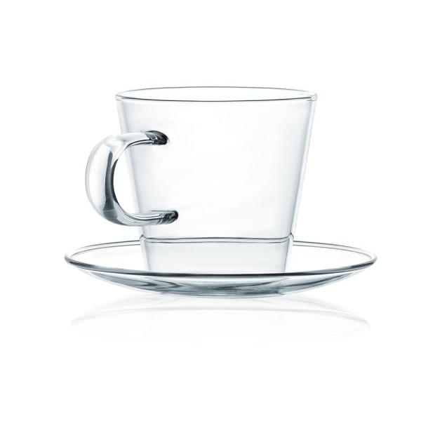 JavaFly Double Wall Glass Cup With Saucer Set Of 8 8.6 Oz