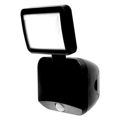 Battery Operated Black Outdoor Integrated LED Single Head Flood Light Security Motion Sensing