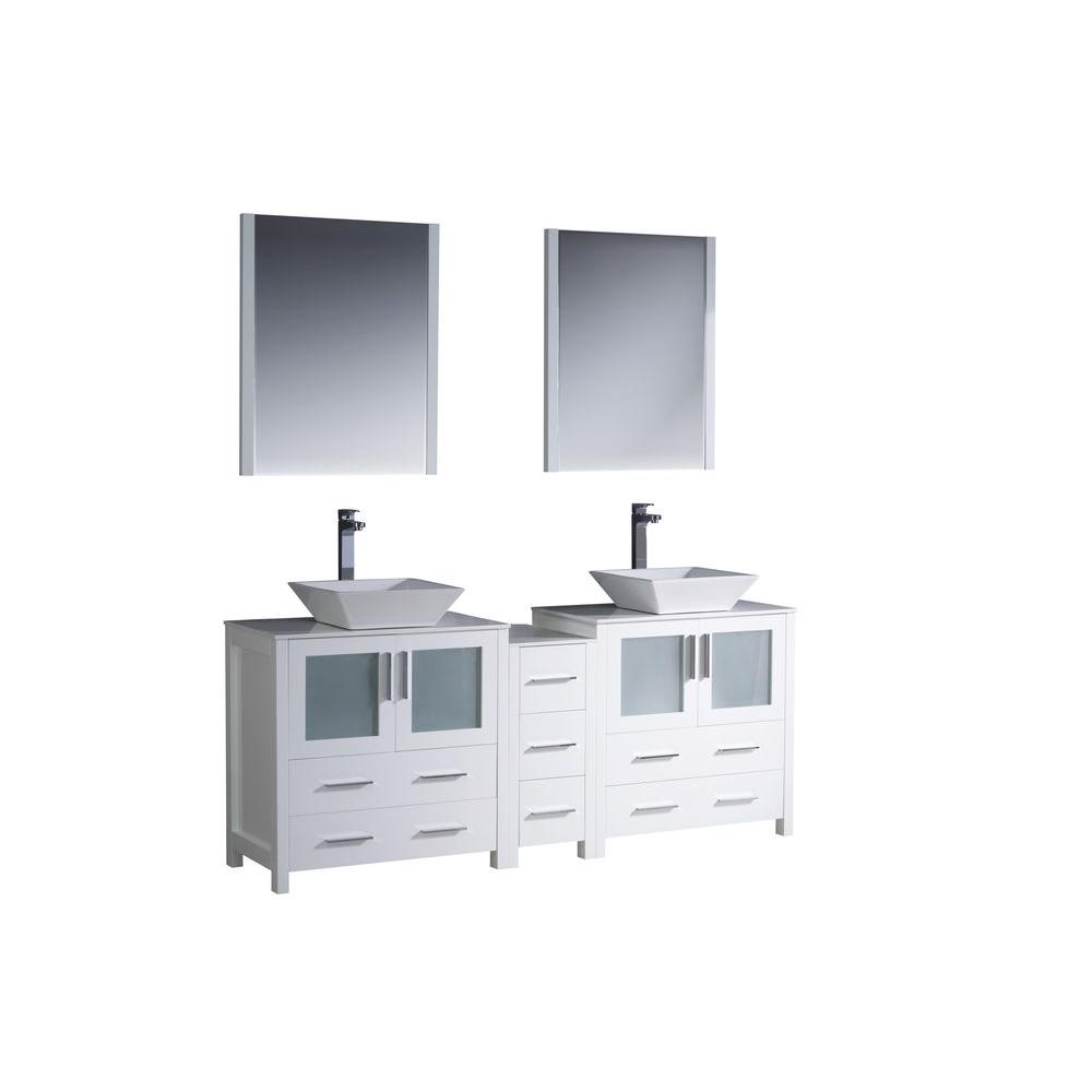 Fresca Torino 72 in. Double Vanity in White with Glass Stone Vanity Top in White with White Basins and Mirrors