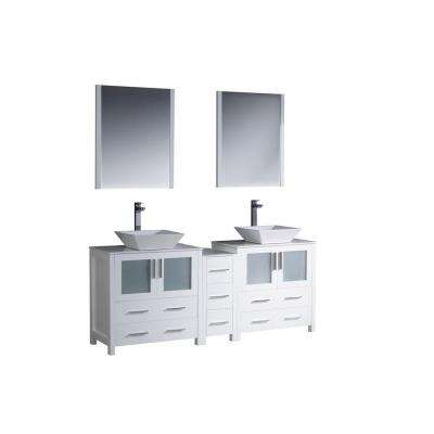Torino 72 in. Double Vanity in White with Glass Stone Vanity Top in White with White Basins and Mirrors