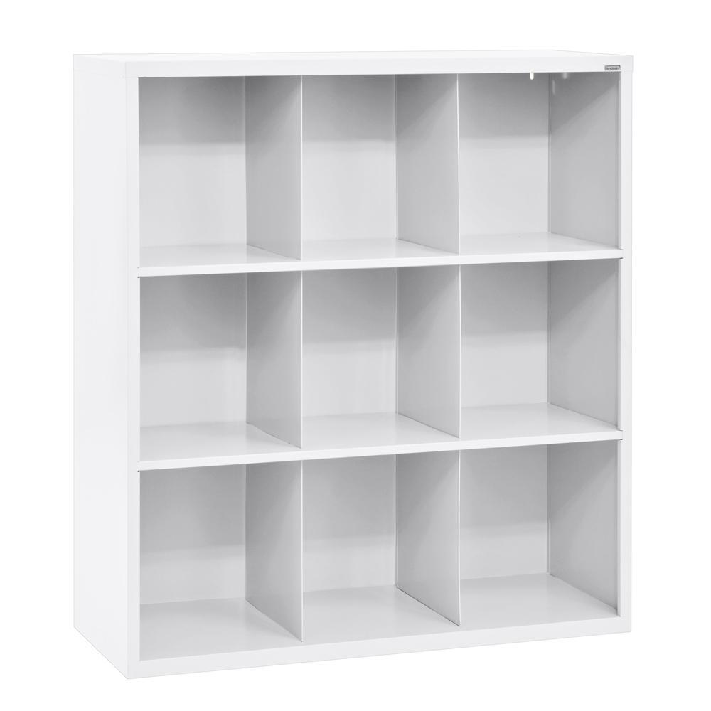 Sandusky 52 in. H x 46 in. W x 18 in. D White 9-Cube Cubby Organizer