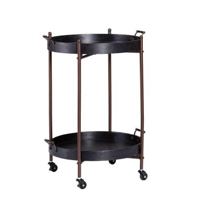 Linwood Black and Aged Bronze Serving Cart