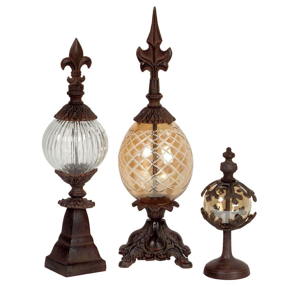 Home Decorators Collection Patricia Earthtones 16.5 in. H Finials (Set of Three)