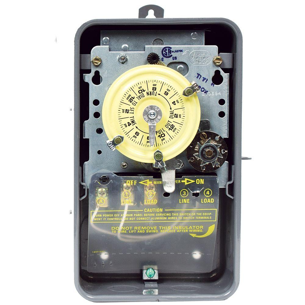 T170 Series 40-Amp 24-Hour Mechanical Time Switch with Skipper and Outdoor