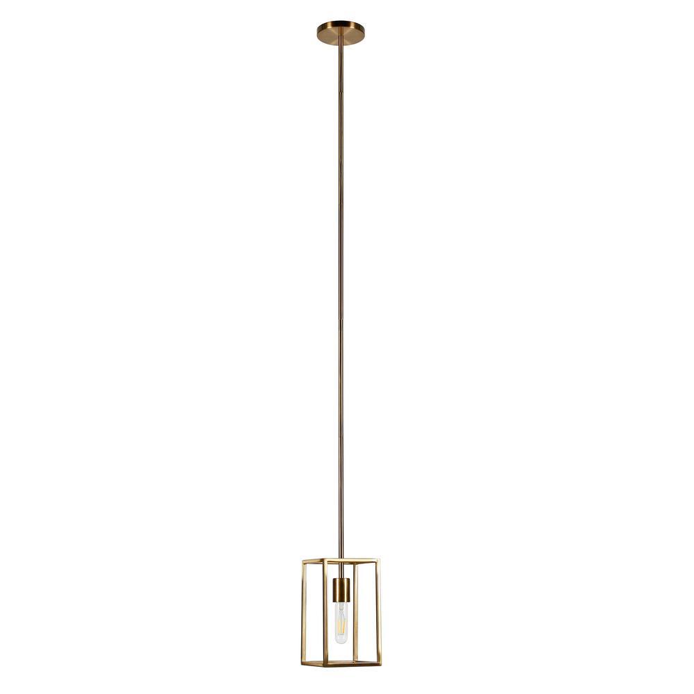 1-Light Cuadro Square Framed Pendant in Brass