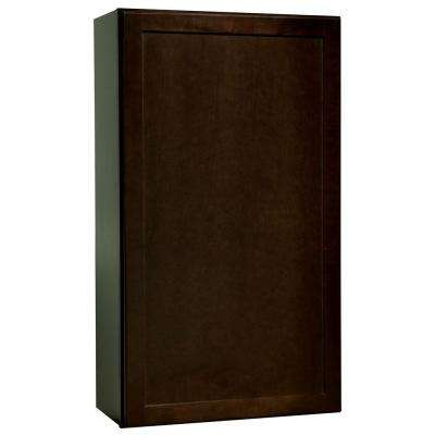 Shaker Assembled 24x42x12 in. Wall Kitchen Cabinet in Java