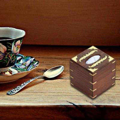 5.6 in. x 5.6 in. Transitional Brown Wood Tissue Box Holder with Brass Inlaid
