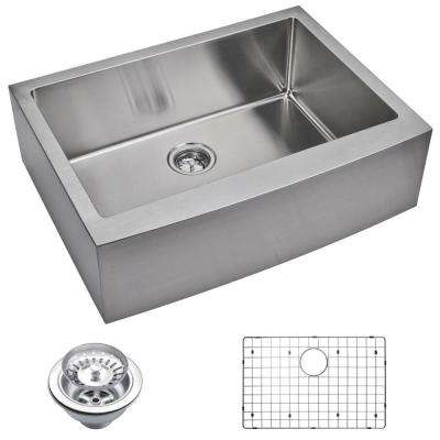Farmhouse Apron Front Small Radius Stainless Steel 30 in. Single Bowl Kitchen Sink with Strainer and Grid in Satin