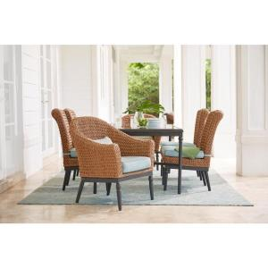 Camden Light Brown 7-Piece Wicker Outdoor Dining Set with Sunbrella Canvas Spa Cushions