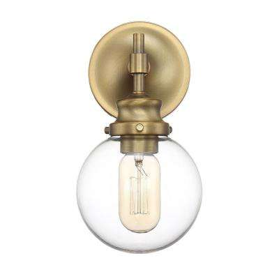 1-Light Natural Brass Sconce with Clear Glass