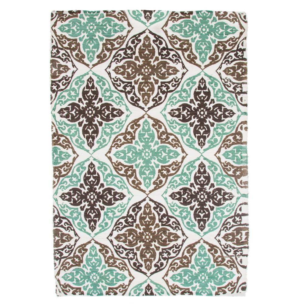 Damask Taupe Rug: Lavish Home Chindi Damask Motif Taupe 4 Ft. X 5 Ft. Area