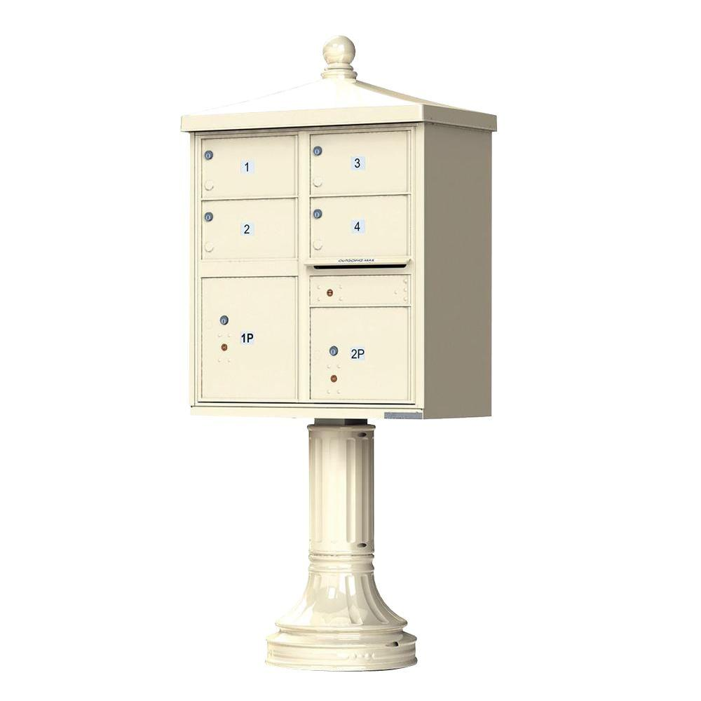 Florence 1570 Series 4 Large Mailboxes, 1 Outgoing, 2 Parcel Lockers, Vital Cluster Mailbox with Vogue Traditional Accessories