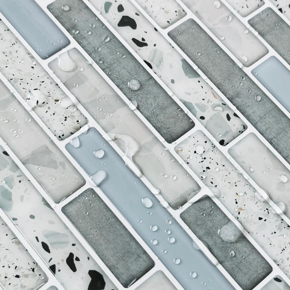 12 in. x 12 in. x 0.06 in. Azure Grey Peel and Stick Backspalsh Tile for Kitchen/Bathroom (10 tiles/pack)