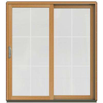 72 in. x 80 in. W-2500 Contemporary Red Clad Wood Left-Hand 6 Lite Sliding Patio Door w/Stained Interior