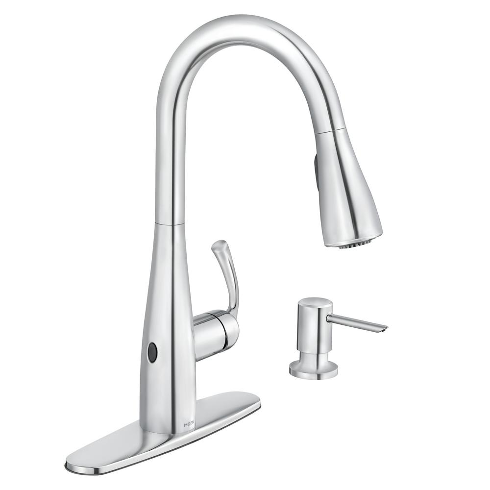 MOEN Essie Touchless Single-Handle Pull-Down Sprayer Kitchen Faucet with  MotionSense Wave and Power Clean in Chrome