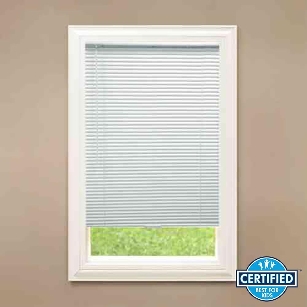 Cut-to-Width White Cordless 1 in. Room Darkening Aluminum Mini Blind - 44 in. W x 48 in. L
