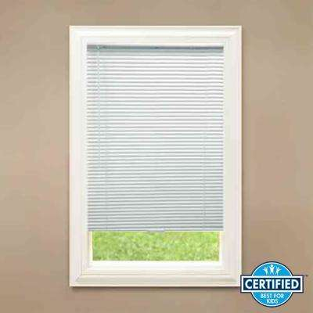Cut-to-Width White Cordless 1 in. Room Darkening Aluminum Mini Blind - 27 in. W x 72 in. L