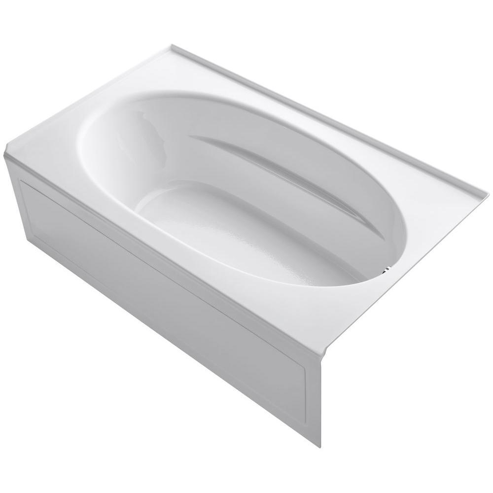 KOHLER Windward 6 ft. Right-Hand Drain with Tile Flange and Farmhouse Rectangular Alcove Bathtub in White