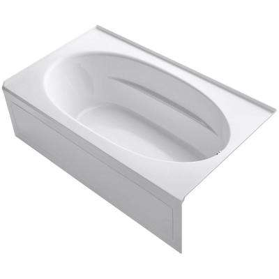 Windward 6 ft. Right-Hand Drain with Tile Flange and Farmhouse Rectangular Alcove Bathtub in White