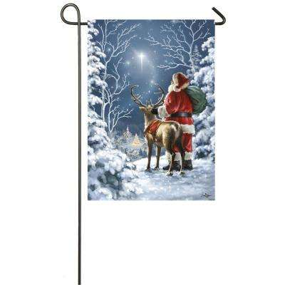 18 in. x 12.5 in. Starry Night Santa Garden Satin Flag