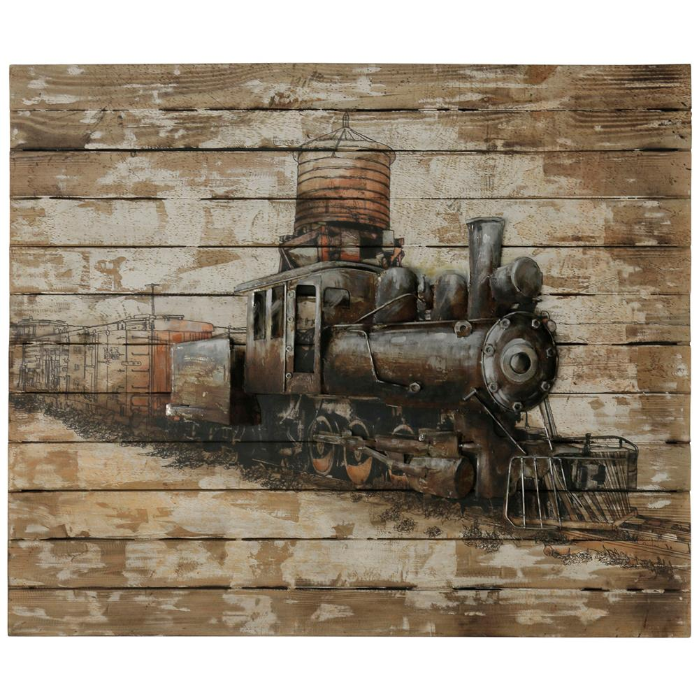 StyleCraft Train Engine Print Multicolored Wooden Wall Art was $356.99 now $140.72 (61.0% off)