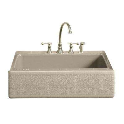Alencon Lace Design on Dickinson Farmhouse Apron Front Cast-Iron 33 in. 4-Hole Single Bowl Kitchen Sink in Sandbar
