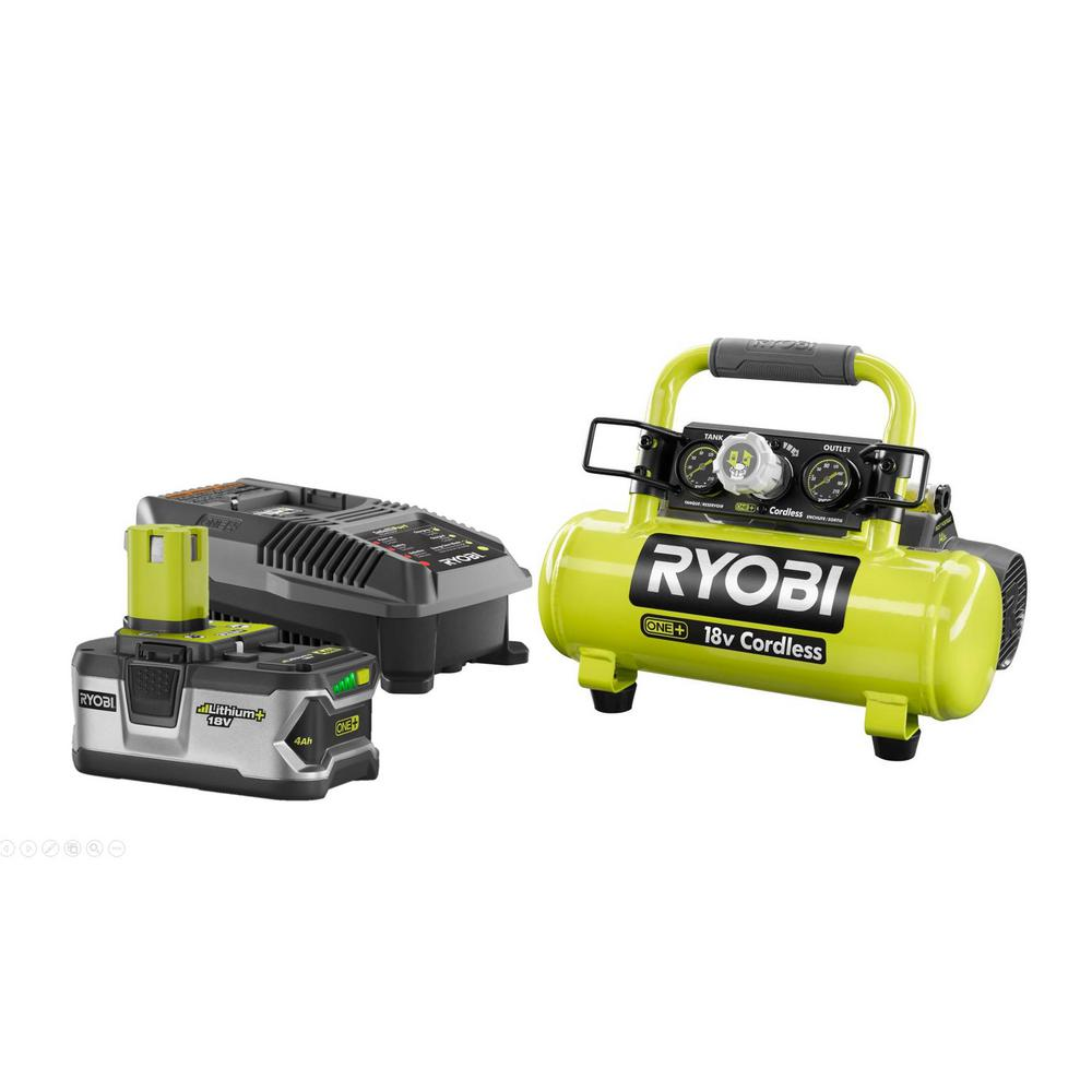 RYOBI 18-Volt ONE+ Cordless 1 Gal. Portable Air Compressor with 4.0 Ah LITHIUM+ High Capacity Battery and 18-Volt Charger