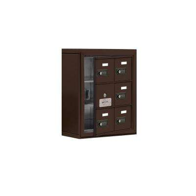 19100 Series 17.5 in. W x 20 in. H x 6.25 in. D 5 Doors Cell Phone Locker S-Mount Resettable Locks in Bronze