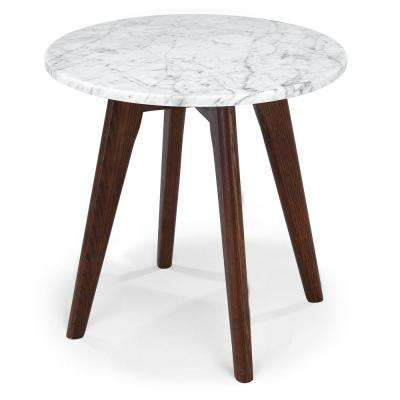 Riley Walnut Marble Round Side Table