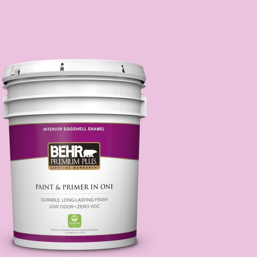 BEHR Premium Plus 5-gal. #680A-2 Sugar Sweet Zero VOC Eggshell Enamel Interior Paint, Reds/Pinks
