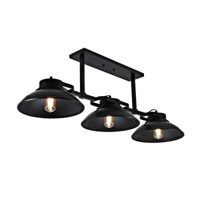 3-Light Contemporary Barnyard Medium Outdoor Hanging Chandelier, Black