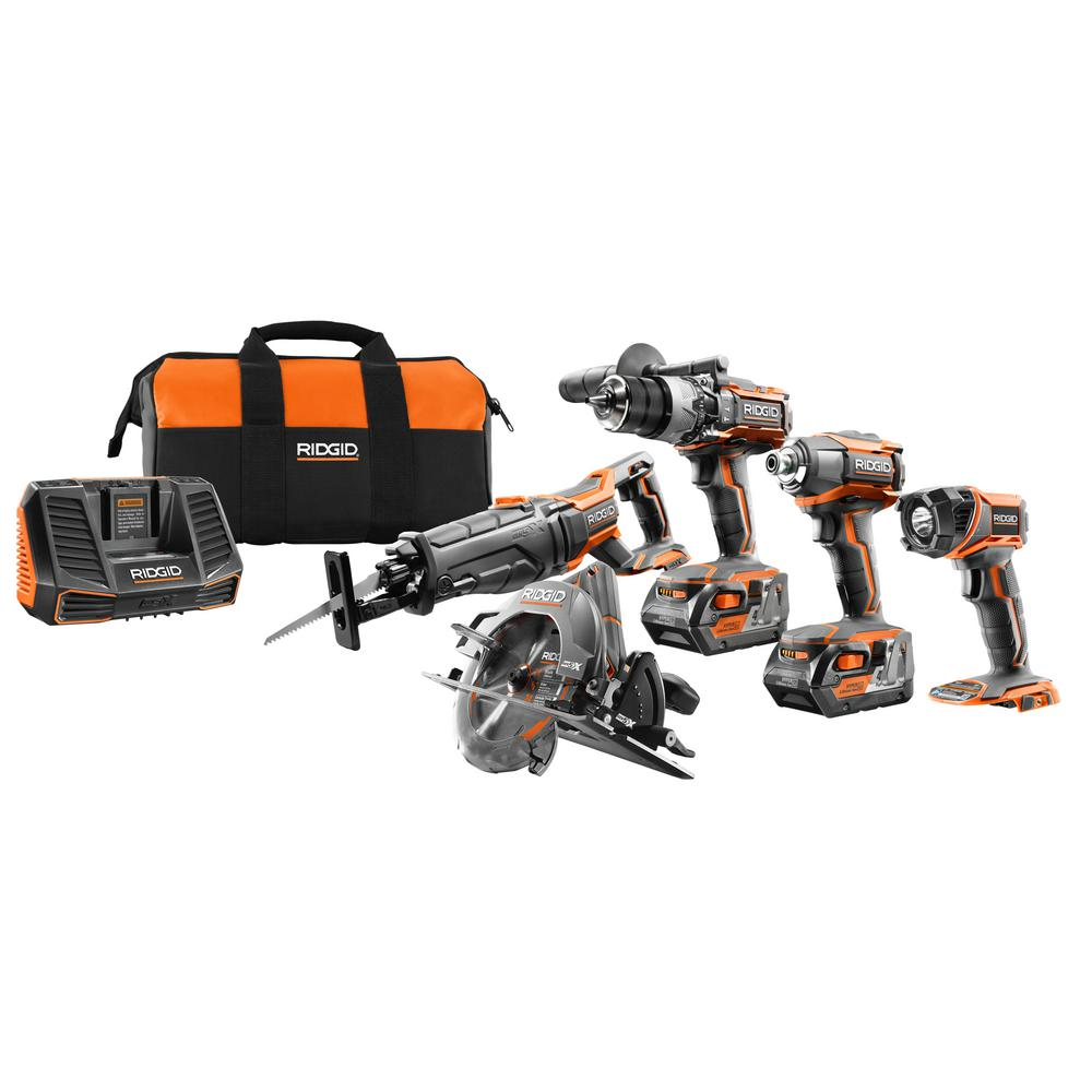 RIDGID 18-Volt Lithium-Ion Cordless 5-Tool Combo Kit with (2) 4.0 Ah Batteries, 18-Volt Charger, and Contractor's Bag was $499.0 now $299.0 (40.0% off)