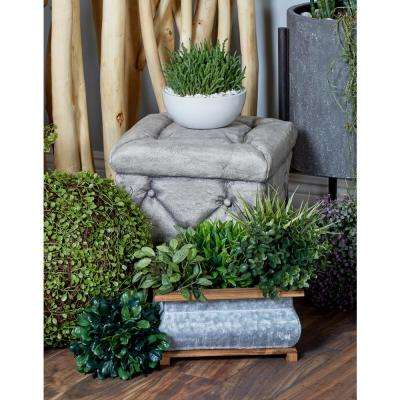 Gray Square Tufted Ottoman-Inspired Garden Stool