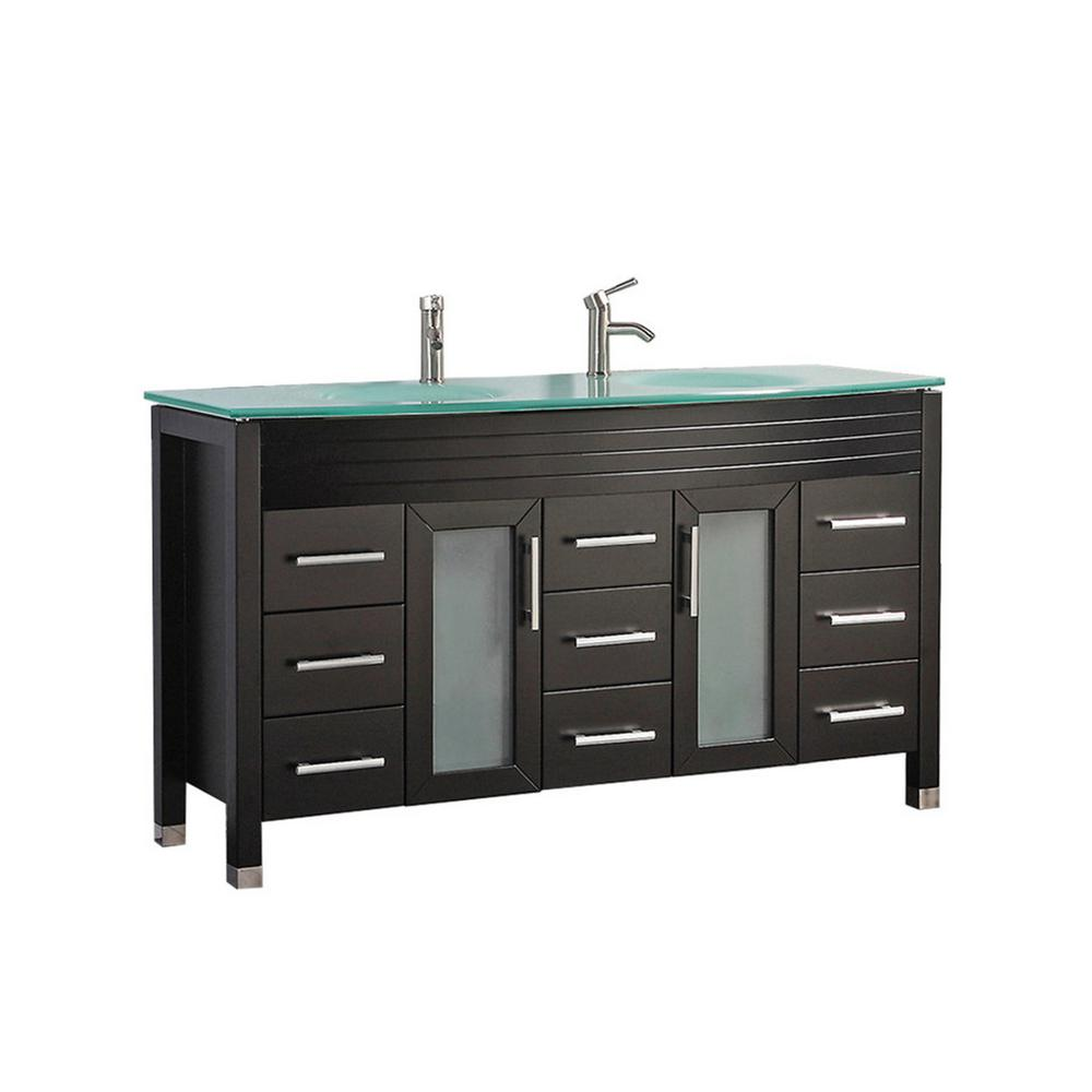 MTD Vanities Fort 63 in. W x 22 in. D x 36 in. H Double Bath Vanity in Espresso with Tempered Glass Vanity Top with Glass Basin