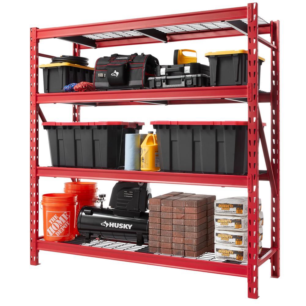Red 4-Tier Heavy Duty Industrial Welded Steel Garage Shelving Unit (77 in. W x 78 in. H x 24 in. D)