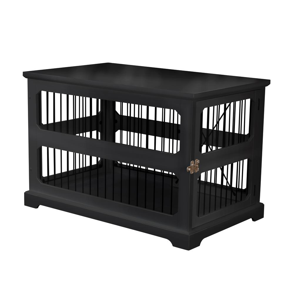 Zoovilla Dog Crate In Black With Slide Aside Door Medium