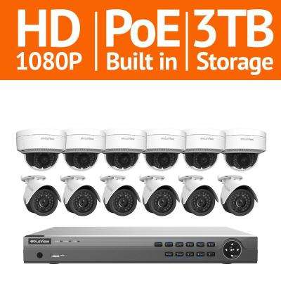 16-Channel Full HD IP Indoor/Outdoor Surveillance 3TB NVR System (6) Bullet and (6) Dome 1080P Cameras Free Remote View